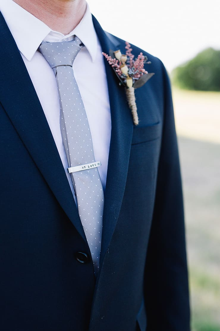 Elegant-Cocktail-Style-Wedding-Groom-Navy-Suit-Polka-Dot-Tie