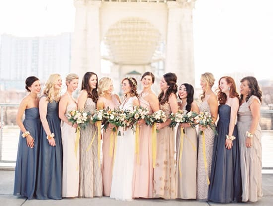 Elegant Mismatched Navy And Champagne Bridesmaid Dresses | Taylor Lord Via  Green Wedding Shoes