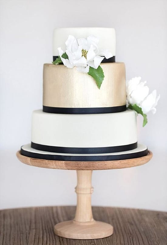 Elegant navy, cream and champagne wedding cake | Catherine Mac via The Pretty Blog