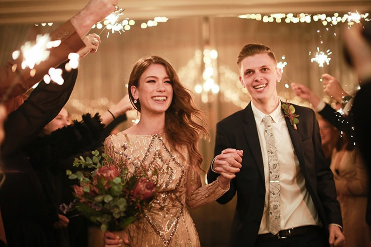 Allyse & Josh's Elegant Rainy Day Wedding in Glittering Gold