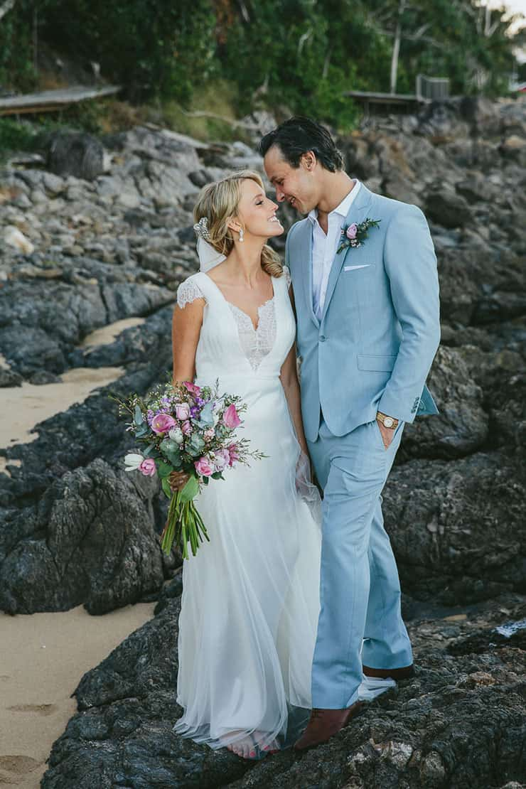 Elegant-Tropical-Wedding-Bride-Groom-Blue-Suit-Beach-Portraits - The ...