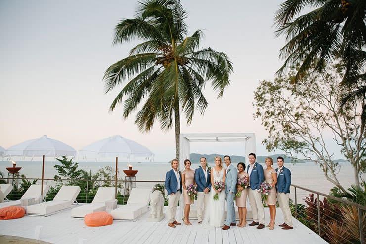 Elegant-Tropical-Wedding-Bride-Groom-Bridal-Party-Portrait-Poolside