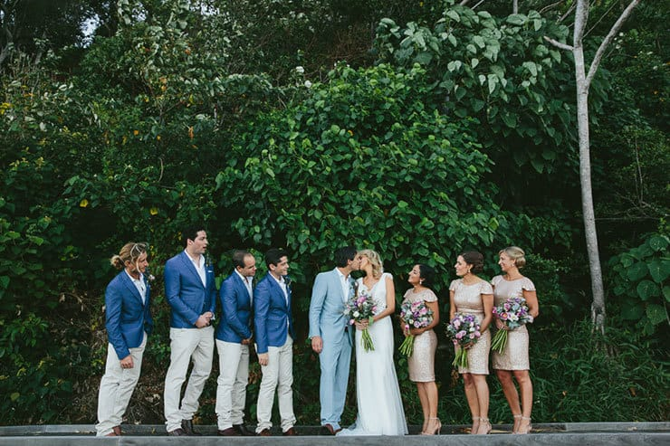 Elegant-Tropical-Wedding-Bride-Groom-Bridal-Party-Portrait