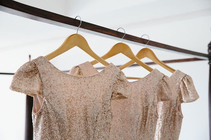 Elegant-Tropical-Wedding-Gold-Bridesmaid-Dress