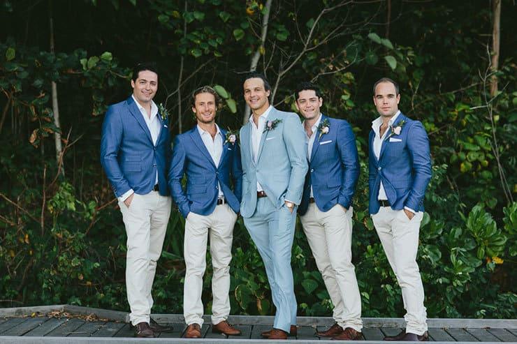 Elegant-Tropical-Wedding-Groom-Groomsmen-Blue-Suits - The Wedding ...