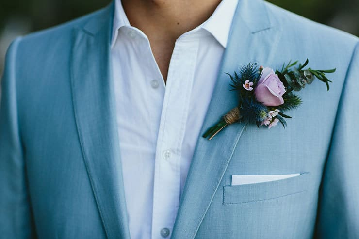 Elegant-Tropical-Wedding-Groom-Purple-Boutonniere-Buttonhole