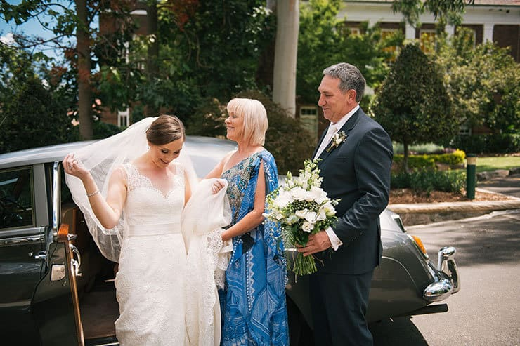 Elegant-Waterside-Wedding-Navy-&-Grey-Bride-Parents-Ceremony-Car-Arrival
