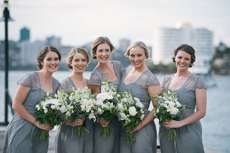 Elegant-Waterside-Wedding-Navy-&-Grey-Bridesmaid-Dress-Bouquet