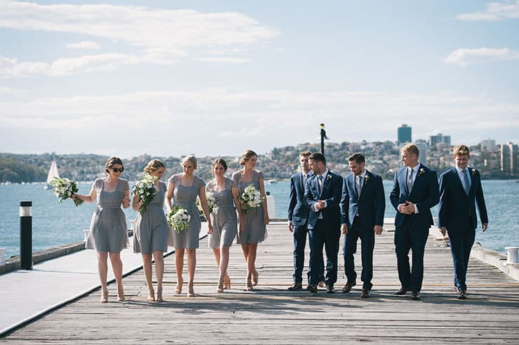 Elegant-Waterside-Wedding-Navy-&-Grey-Bridesmaids-Groomsmen