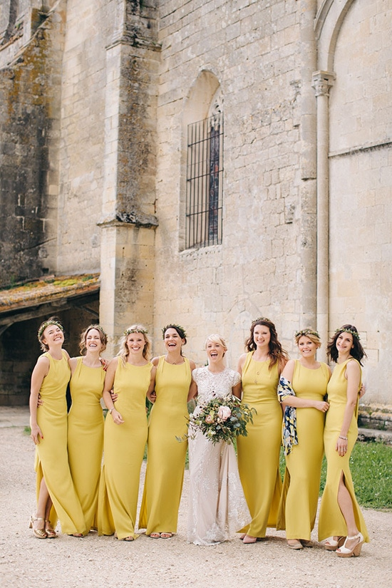 Mustard yellow bridesmaid dresses | M and J Photography via Rock My Wedding