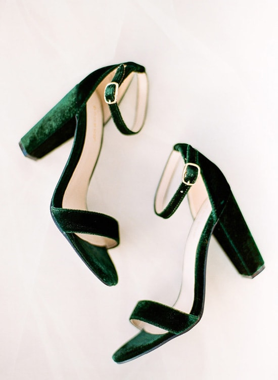 Green velvet block heels for wedding shoes | The Ganeys via Style Me Pretty