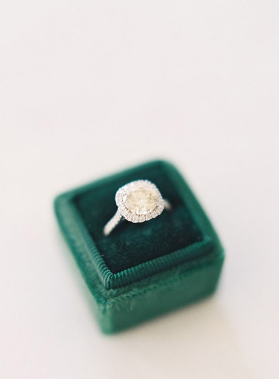 Halo diamond ring in green velvet box | Jen Huang