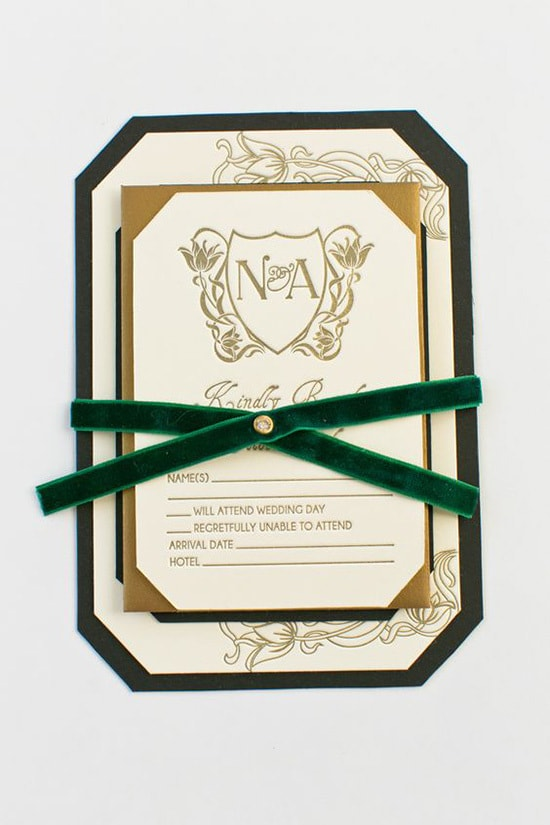 Emerald green and gold wedding invitation with velvet ribbon | Yonder Design
