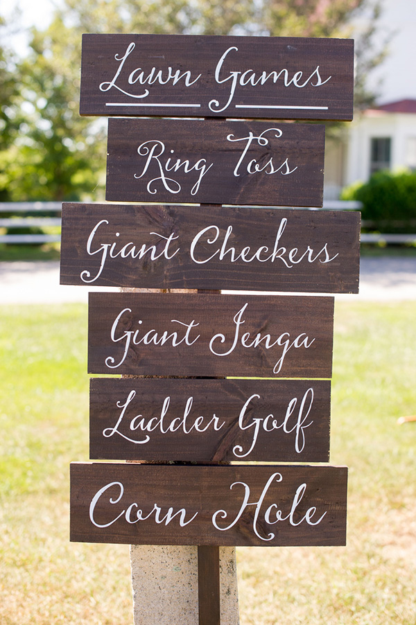 Engagement party 'Lawn Games' activity signage | Style Me Pretty