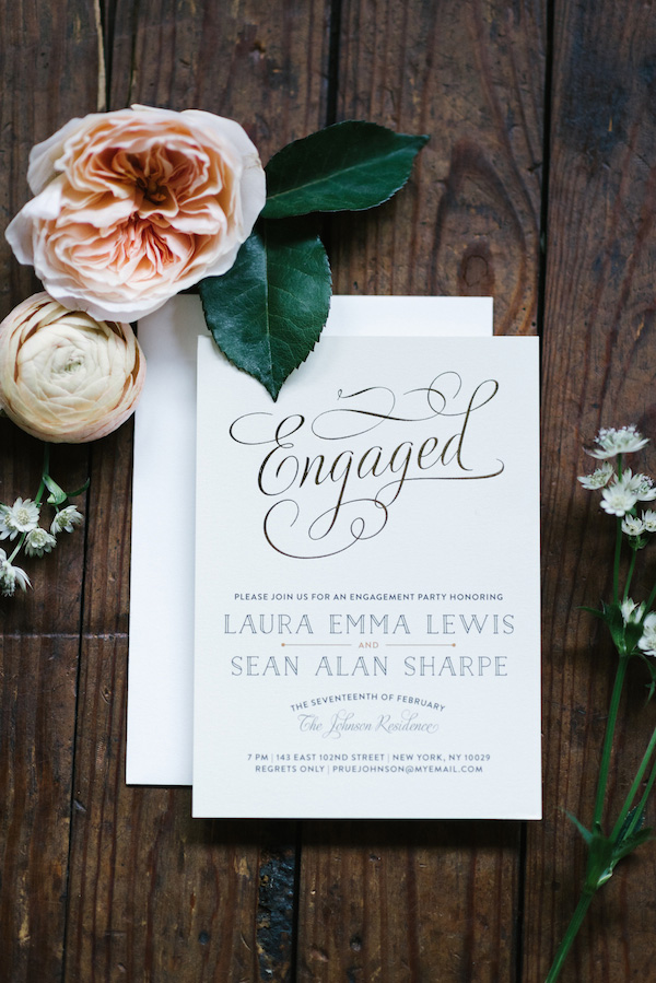 Engagement party invitation | Lauren Rae Photography via The Perfect Palette