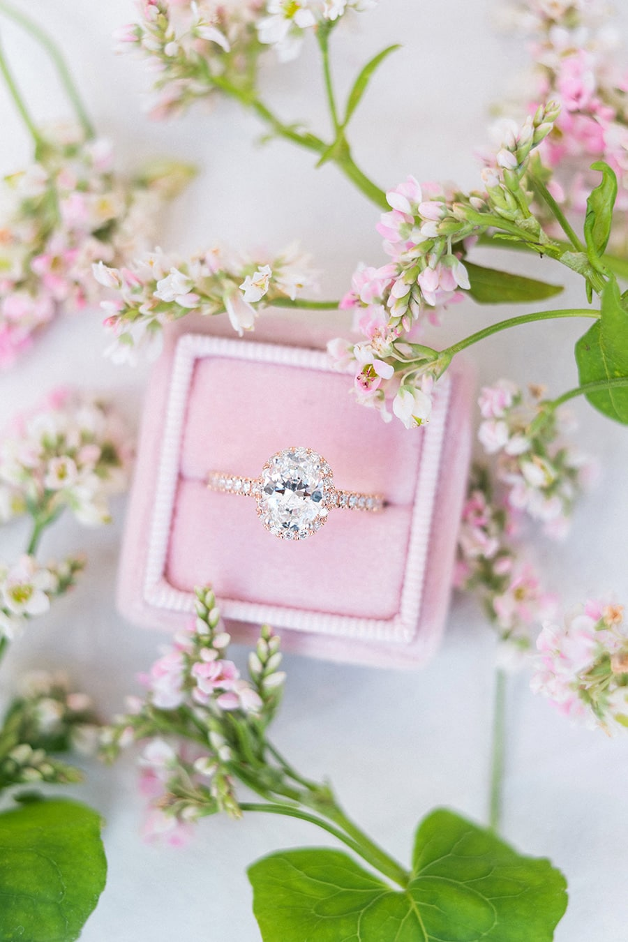 Rose gold halo diamond engagement ring with pave band displayed in soft pink velvet ring box | Photography: Claire Morris Photography via Bridal Musings