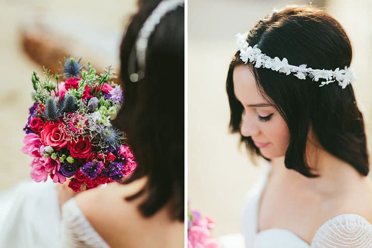 Bright wedding bouquet and fabric flower headpiece