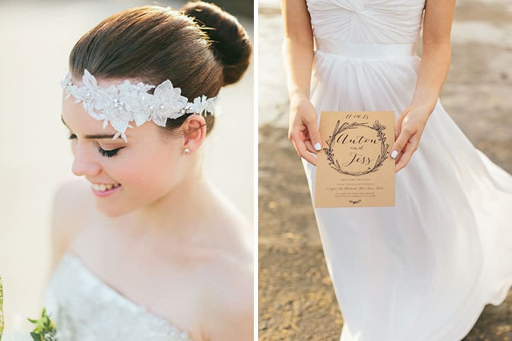 Romantic vintage headpiece and natural illustrated invitation