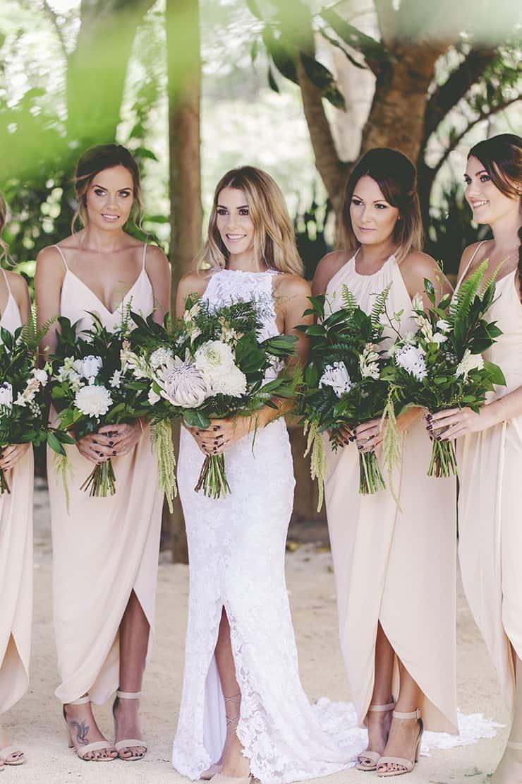 A fresh and modern garden wedding the wedding playbook for Garden wedding party dresses