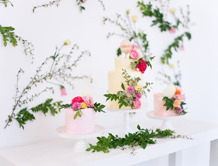 Garden party inspired bridal shower cake table