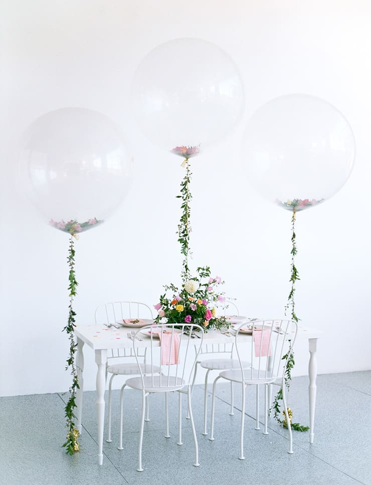Garden party inspired bridal shower table decor