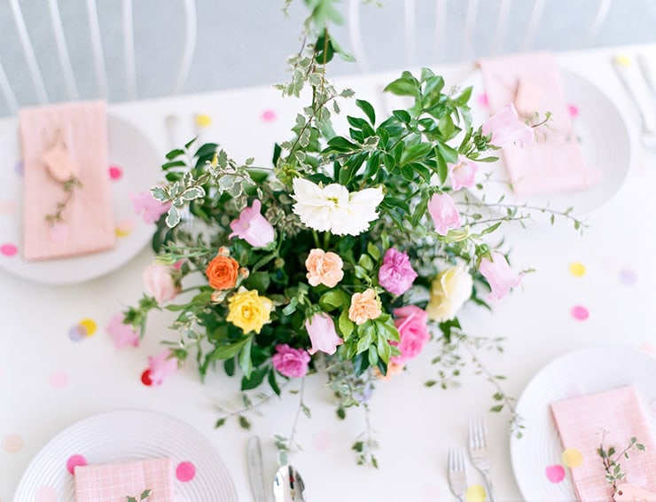Garden party inspired bridal shower flower centrepiece