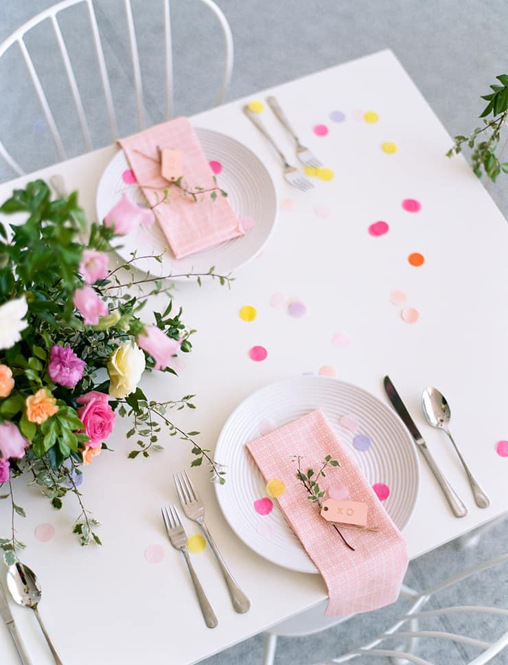 Garden party inspired bridal shower place settings