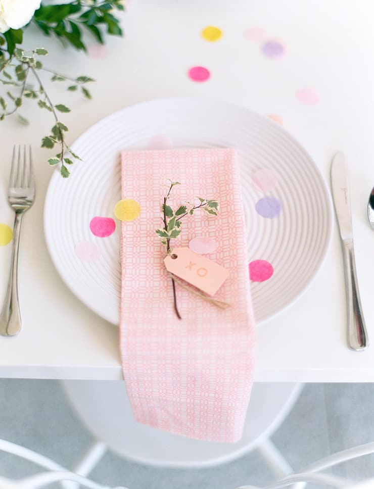 Garden party inspired bridal shower place setting