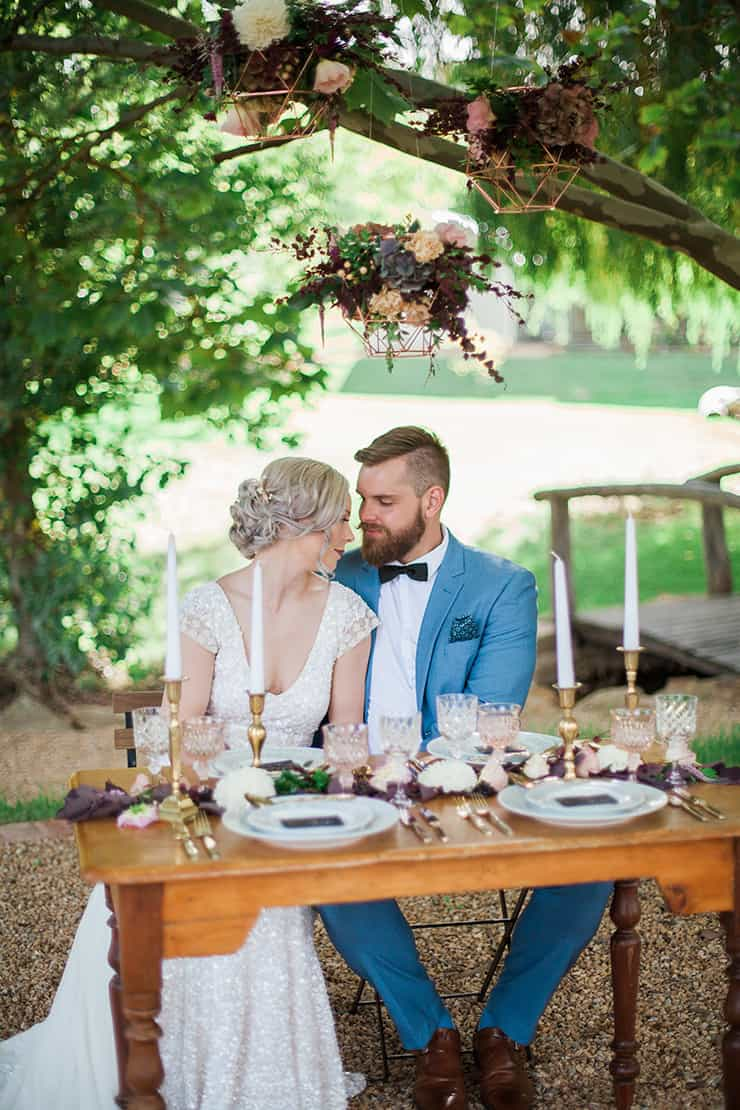 Geometric Wedding Inspiration in Burgundy and Gold | Blush & Mint Photography
