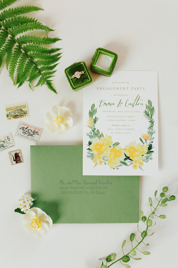 Elegant green and yellow floral engagement party invitation | Katie Parra Photographyvia Style Me Pretty