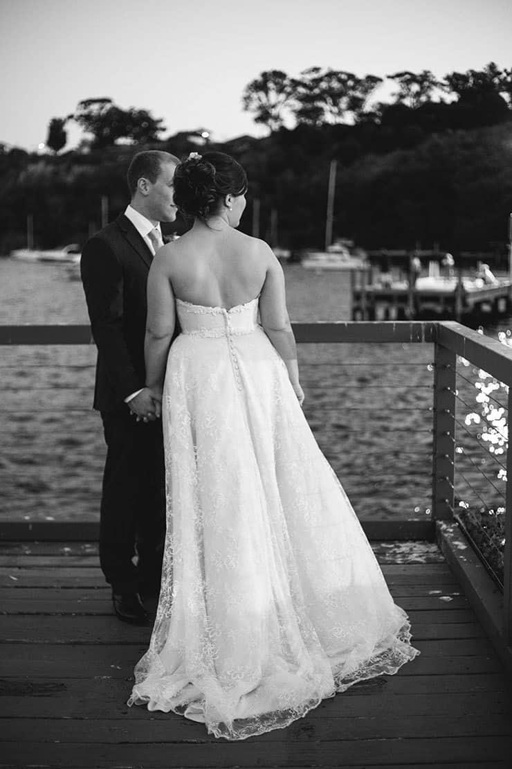 Bride and groom portrait waterside