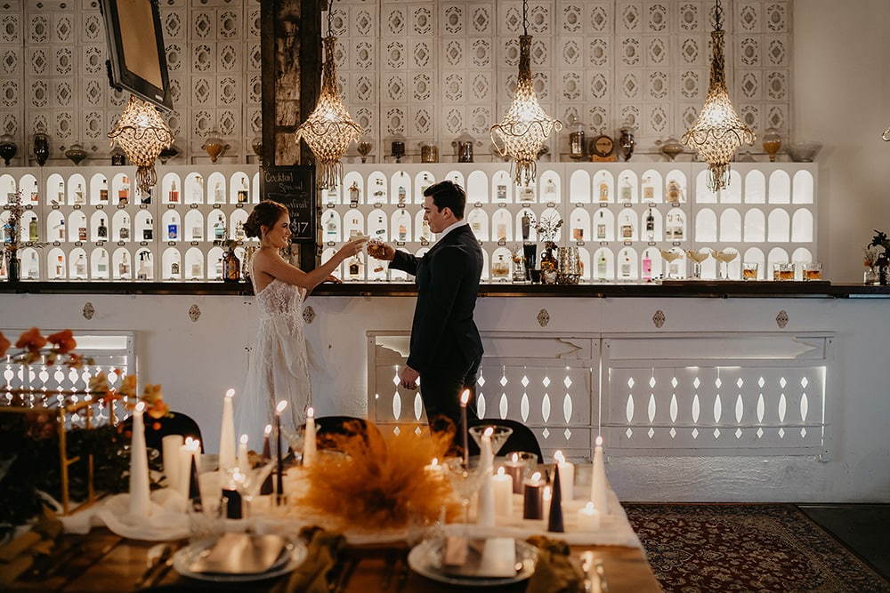 Intimate Modern Wedding Inspiration in Rust, Stone & Black | Photography: Doe and Deer Photography