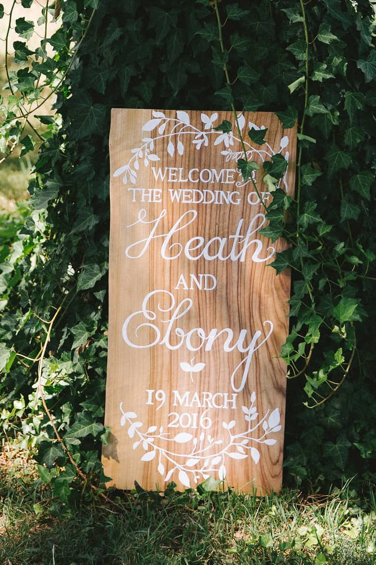 Woodland inspired wedding welcome sign
