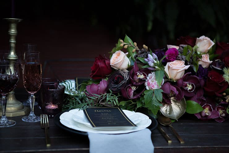 Jewel toned wedding reception decor | Lola Images