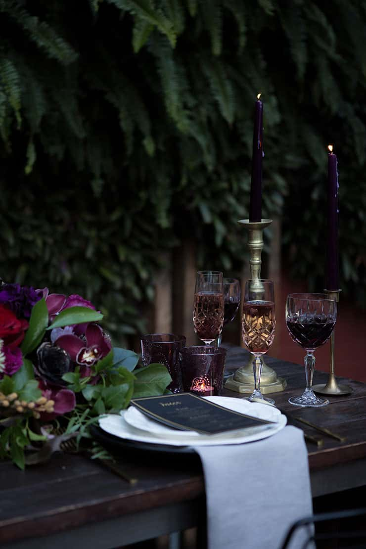 Jewel toned wedding reception decor   Lola Images