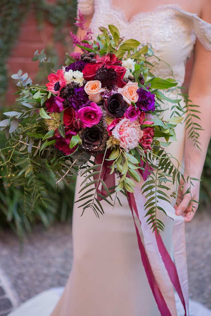Romantic jewel toned wedding bouquet | Lola Images