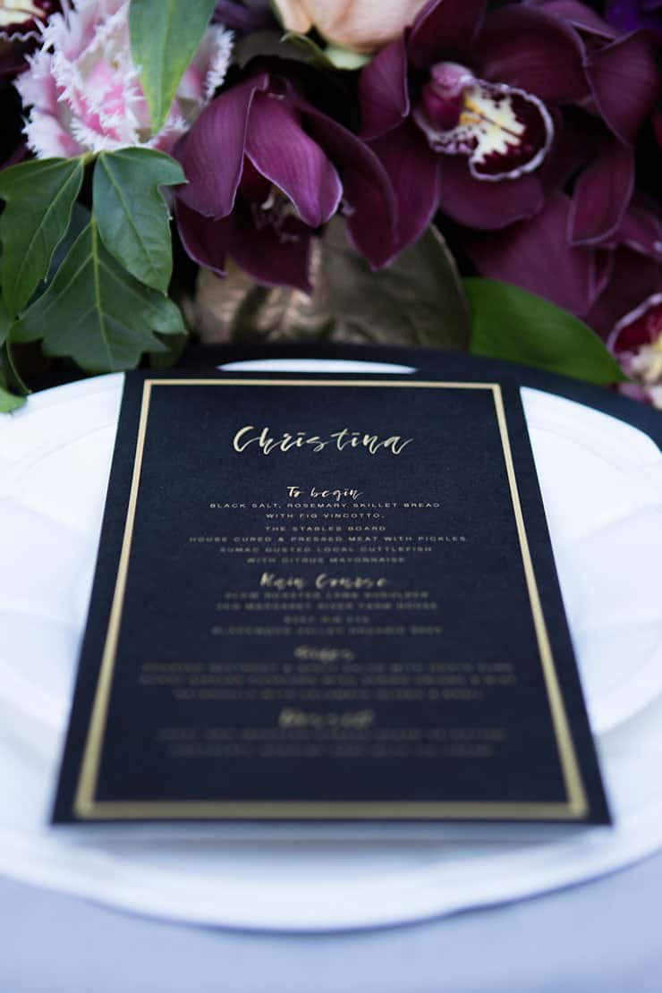 Elegant navy and gold wedding menu | Lola Images