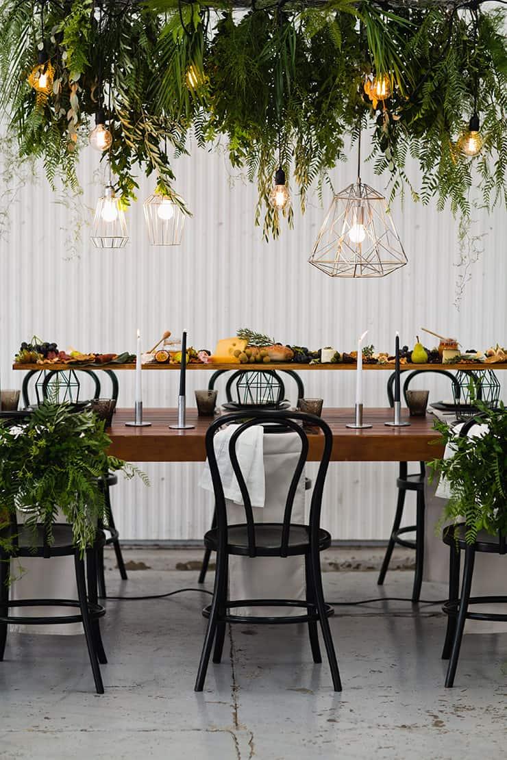 Matte Black and Greenery Wedding Inspiration in an Aircraft Hangar |Lyndal Carmichael Photography