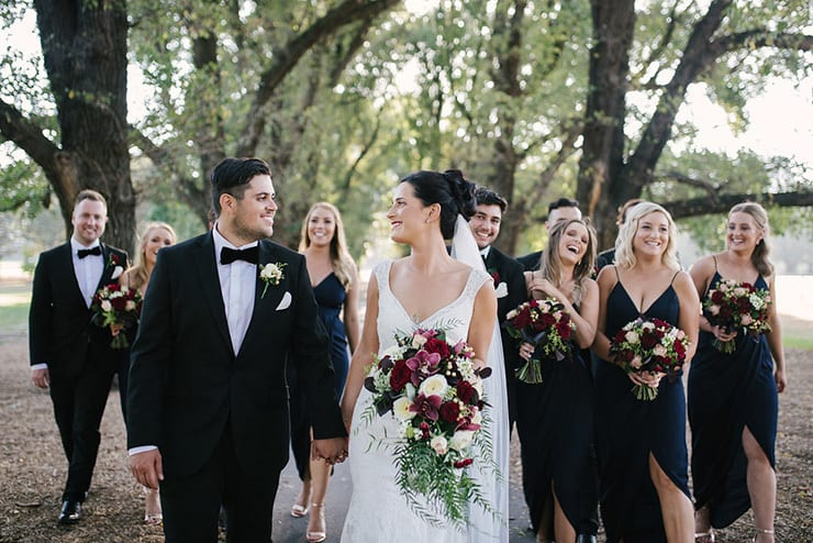 Jaimi & Alex's Modern Black Tie Wedding with Burgundy Bouquets