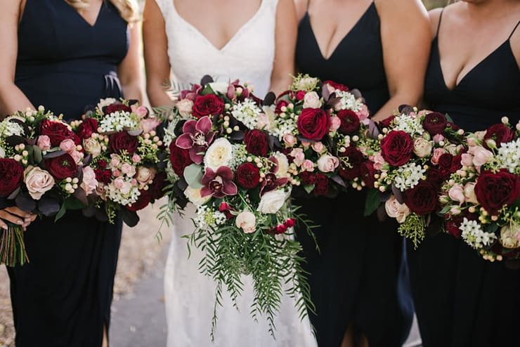 Jaimi alex s modern black tie wedding with burgundy bouquets
