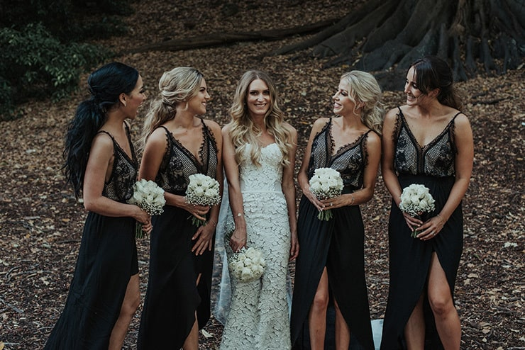 Modern-Black-White-Urban-Wedding-Bride-Bridesmaids