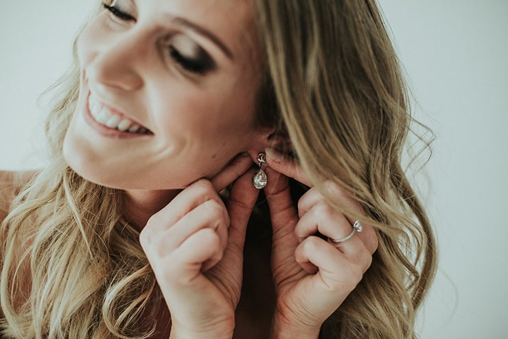 Modern-Black-White-Urban-Wedding-Getting-Ready-Bride-Earrings