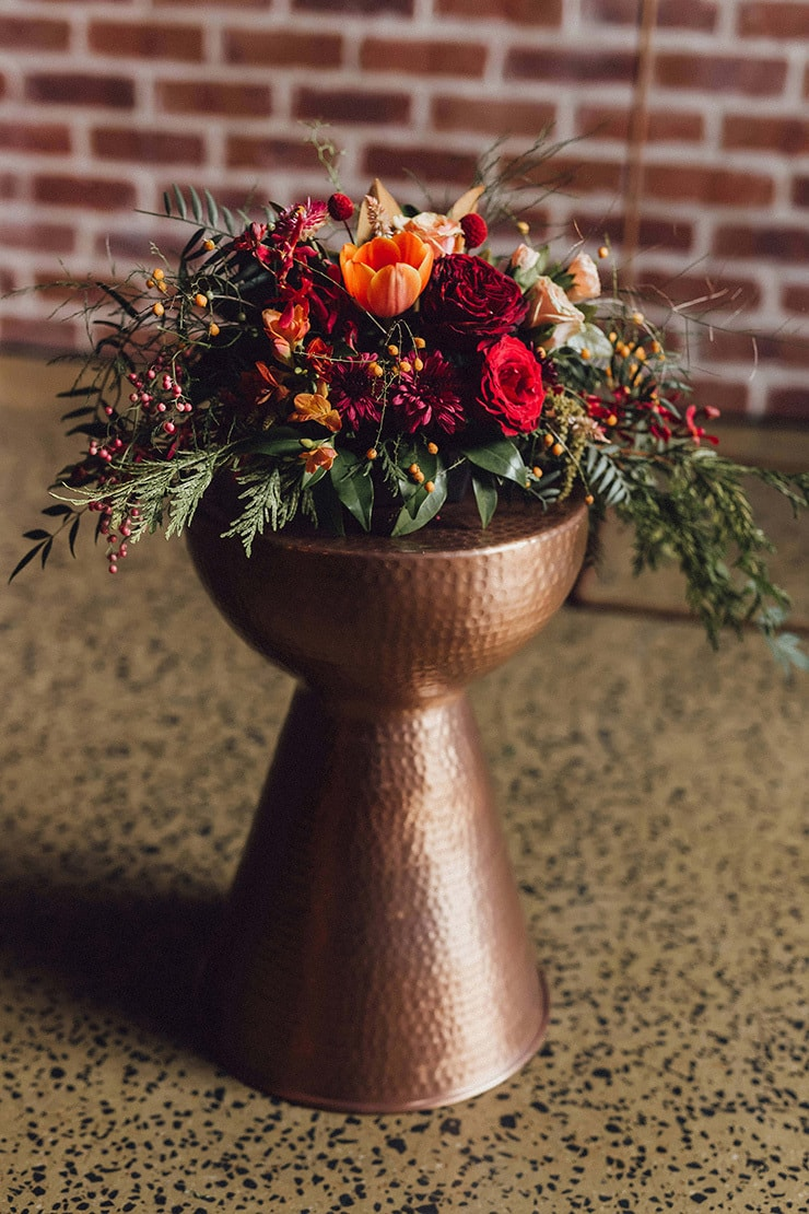 Modern Copper And Burgundy Wedding Inspiration The