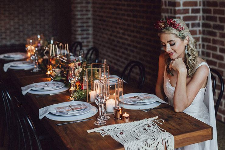Modern Copper and Burgundy Wedding Inspiration