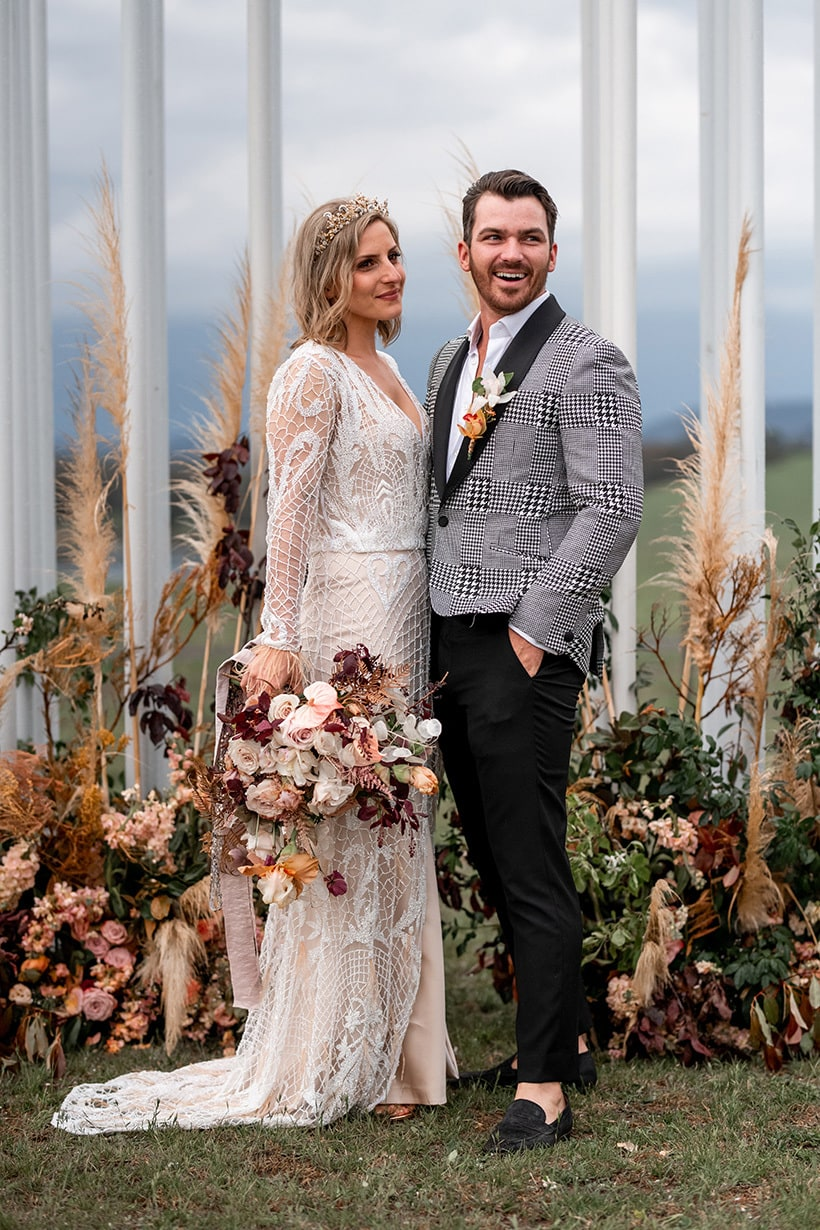 Katarina & Travis' Modern Marquee Wedding in Sunset Hues | Michael Boyle Photography