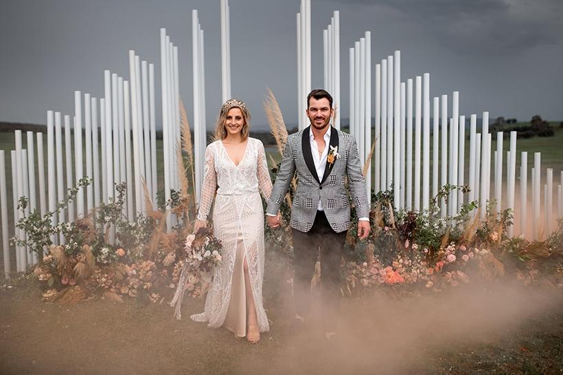 Katarina & Travis' Modern Marquee Wedding in Sunset Hues |Michael Boyle Photography