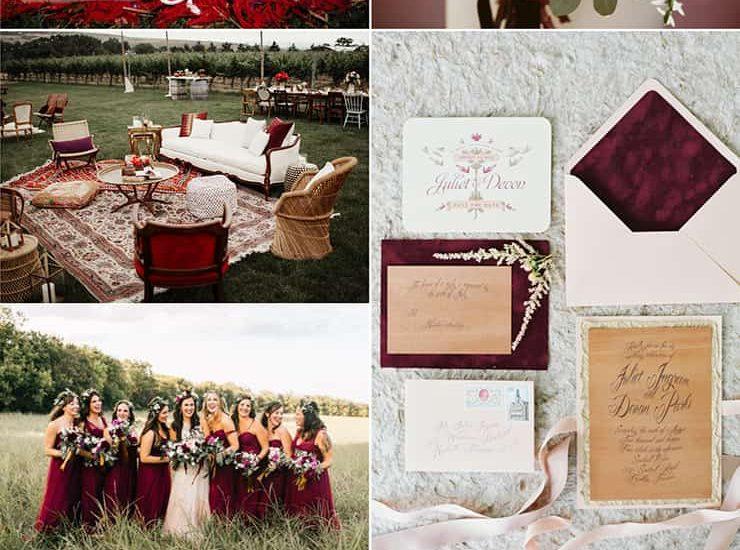 Bohemian Burgundy Wedding Inspiration
