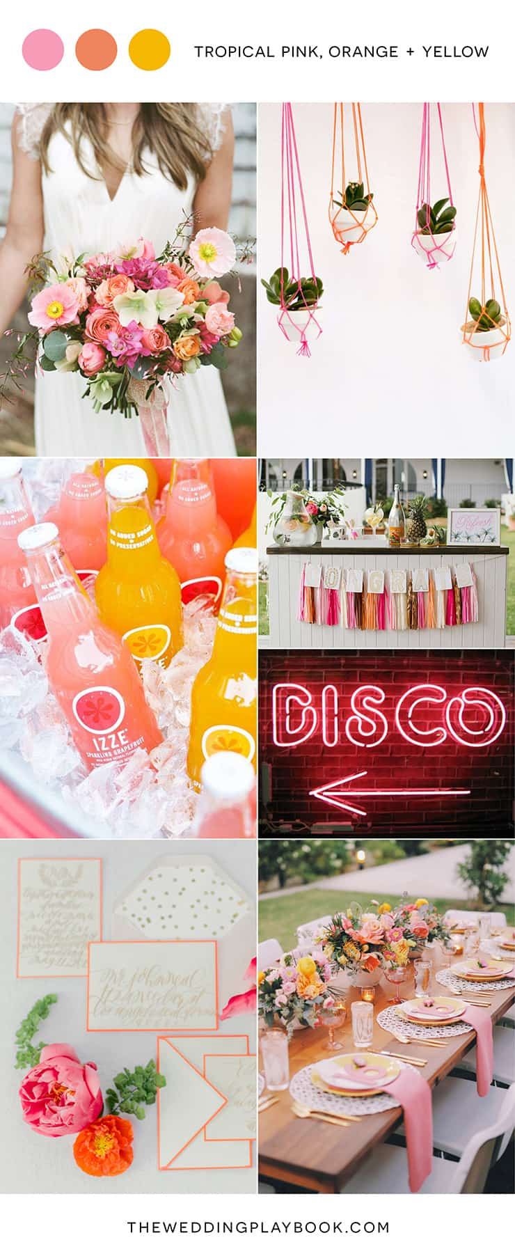 Bright tropical wedding inspiration in pink, orange and yellow