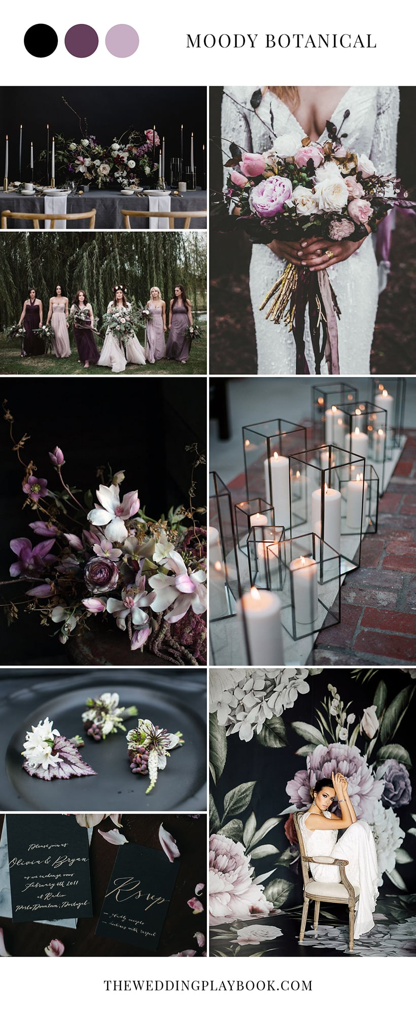 Moody Botanical Black & Purple Wedding Inspiration