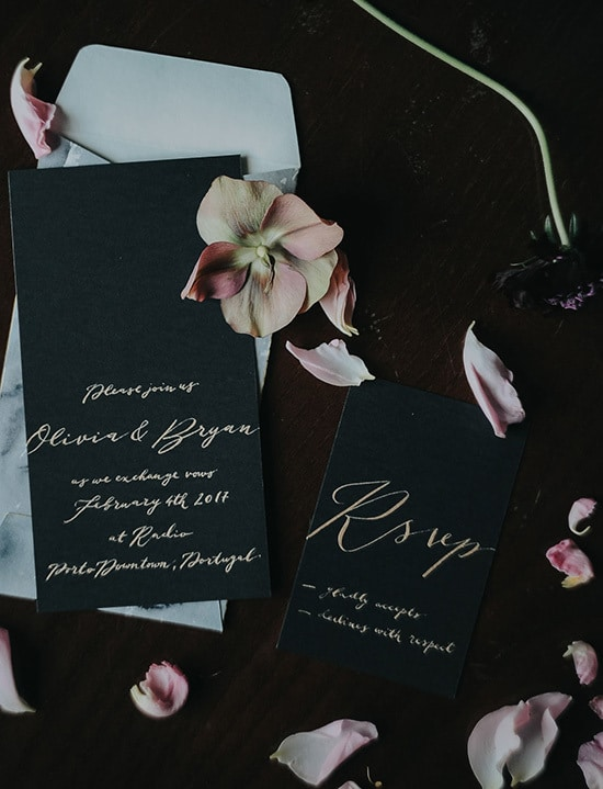 Moody black wedding invitation with gold calligraphy and marble envelope | Meraki Studio via Green Wedding Shoes